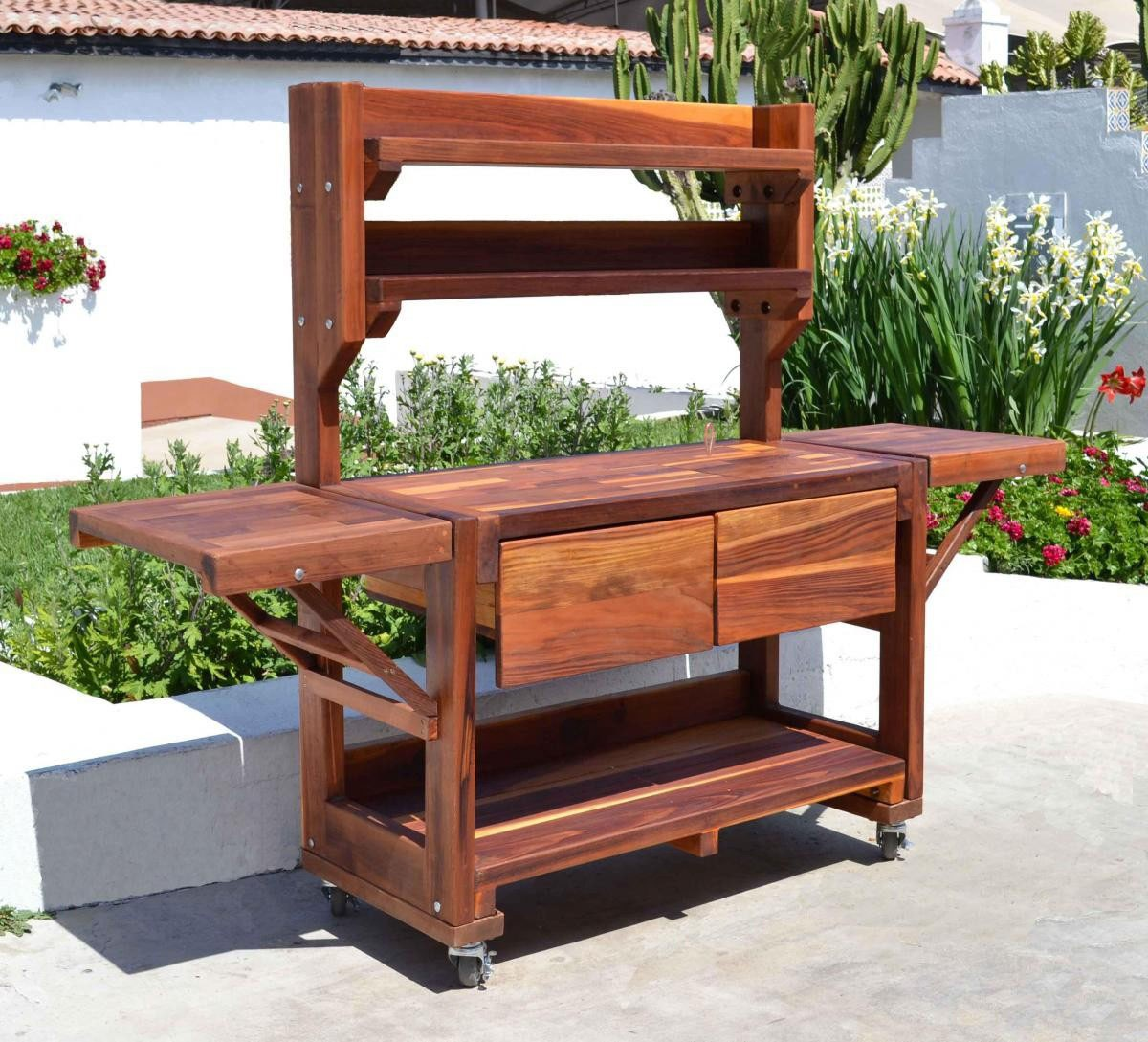 Eli 39 s potting benches built to last decades forever redwood - Potting bench with storage ...