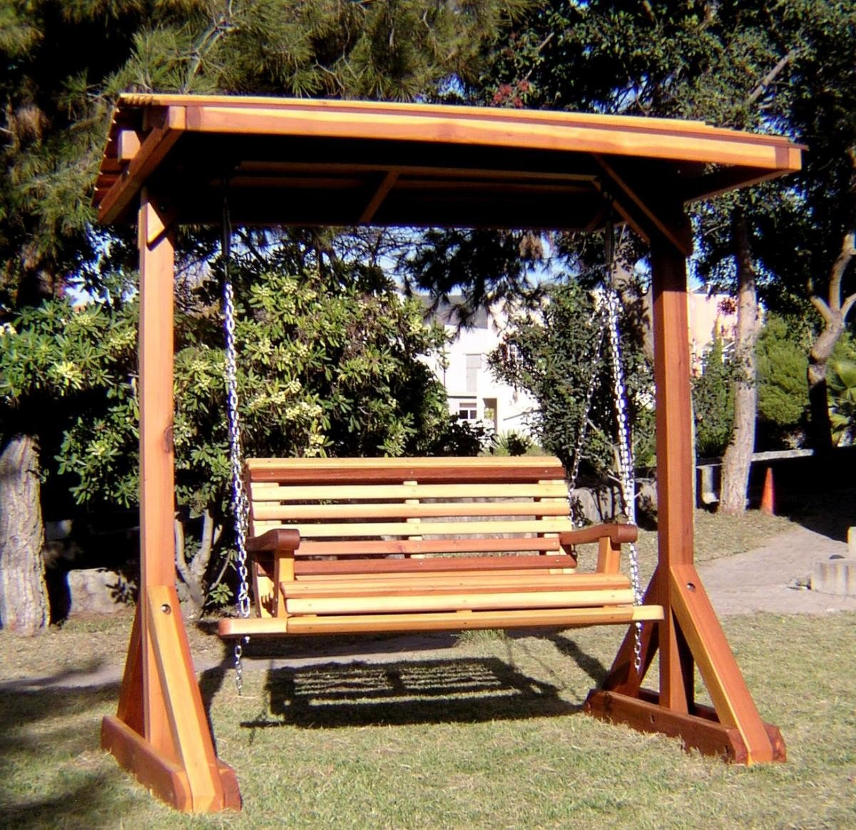Bench swing sets built to last decades forever redwood - How to build an outdoor wooden playground ...
