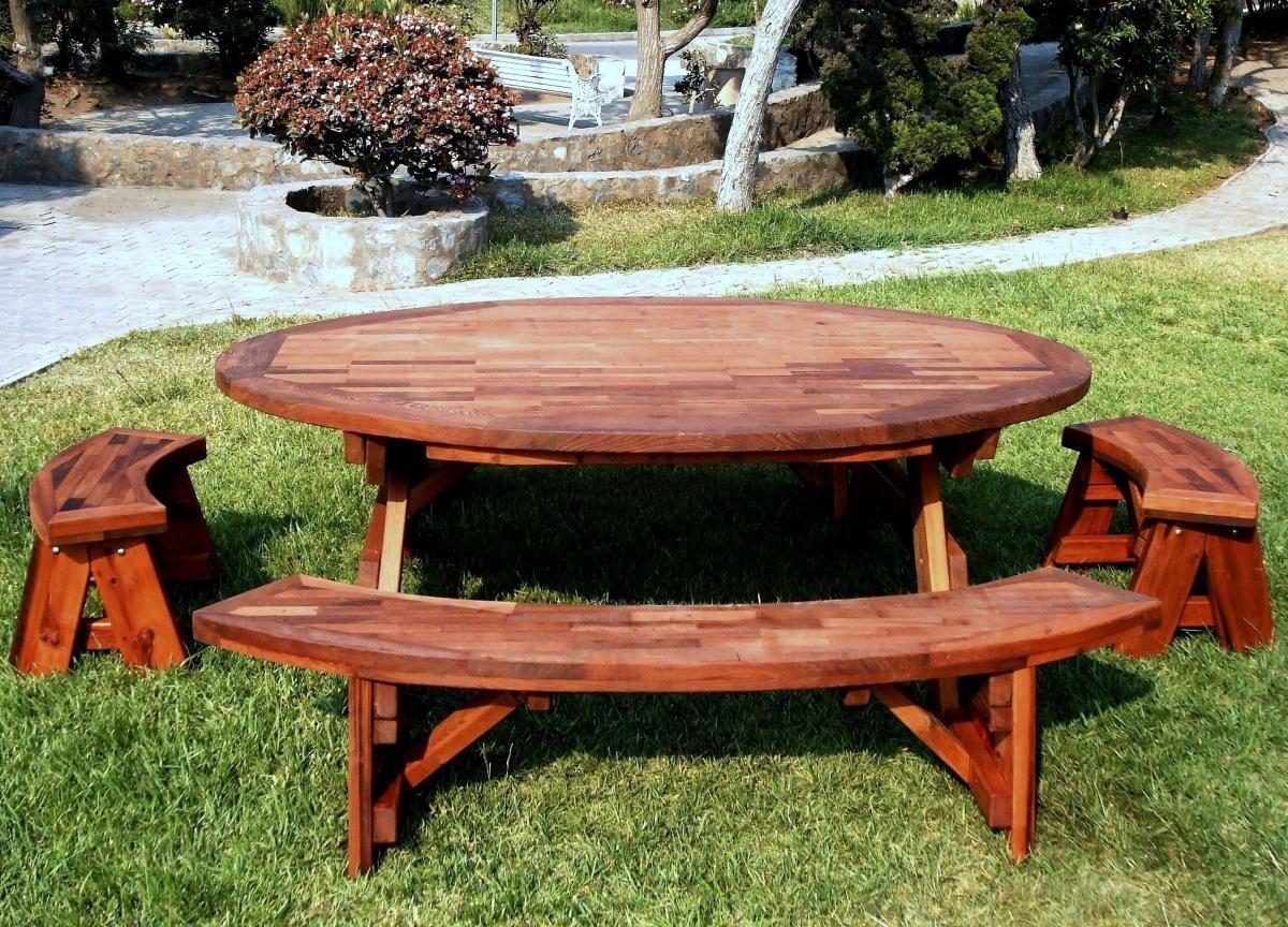 Oval wood picnic tables built to last decades forever - Table de jardin ronde en bois ...