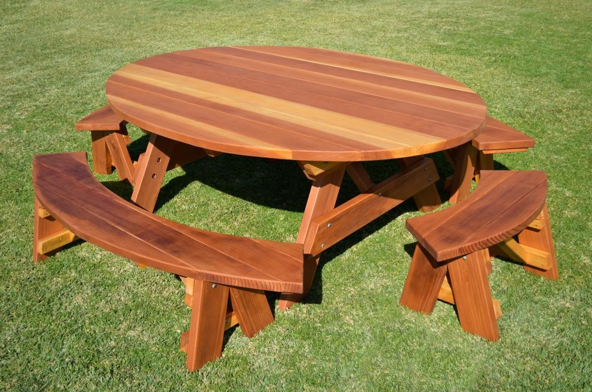 Oval Wood Picnic Tables, Built to Last Decades | Forever Redwood