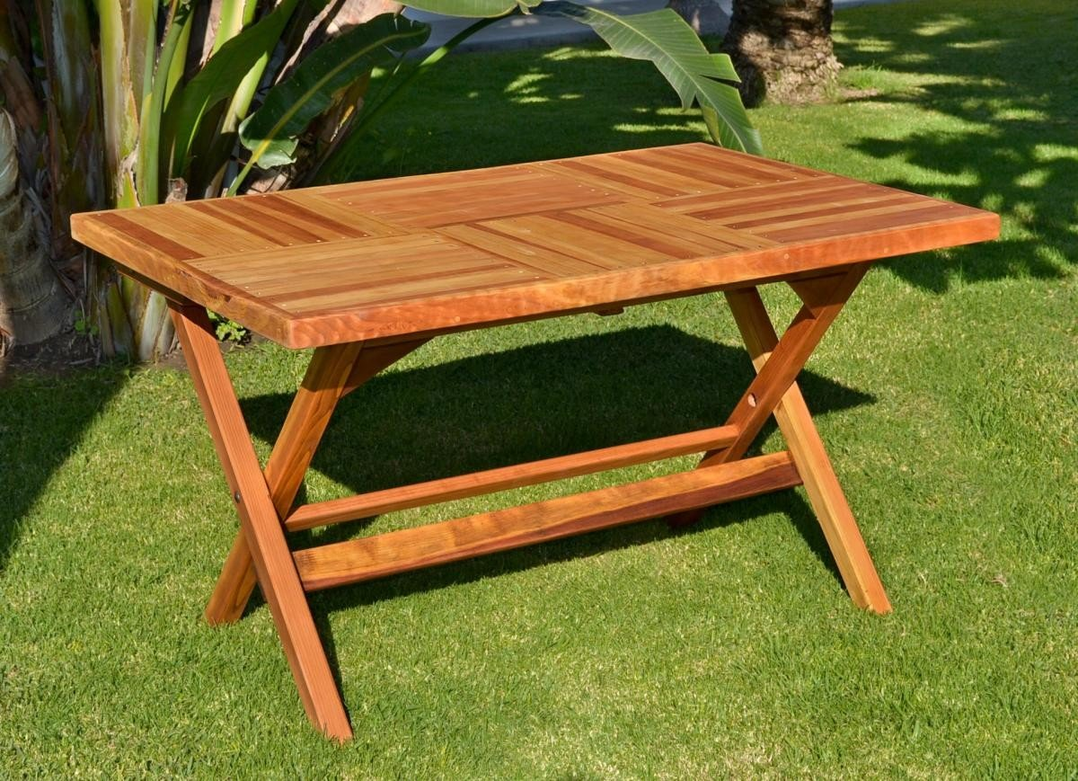 Rectangular folding tables built to last decades - Wooden outdoor folding table ...