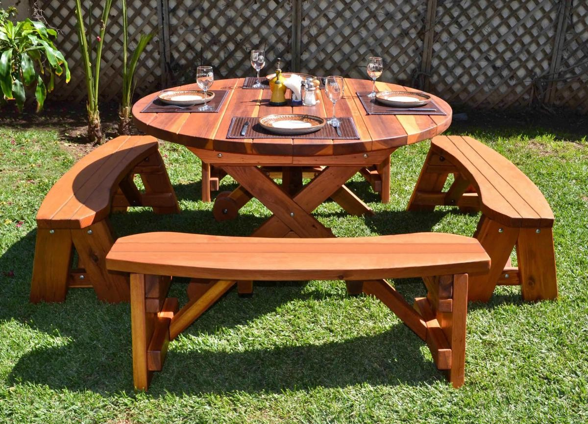 Round Picnic Table With Wheels Built To Last Forever Redwood
