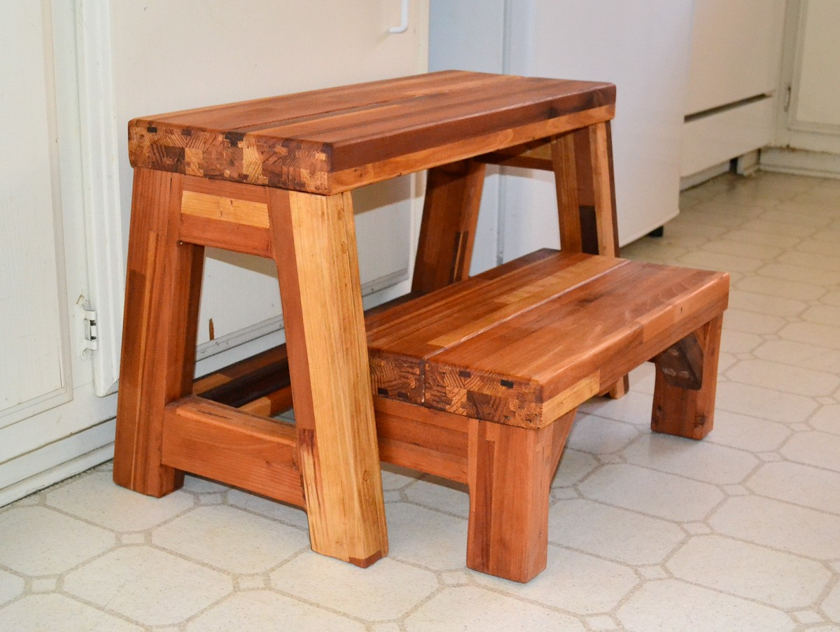 Folding 2 Step Stool Wooden Step Stools Forever Redwood