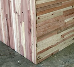 Close-up of our recycled wood scrap panels.