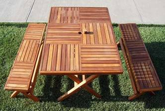 Checkerboard Style Bench and Table