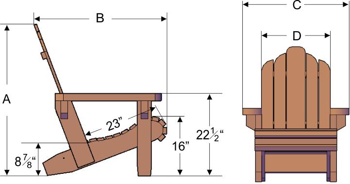 adirondack chair dimensions