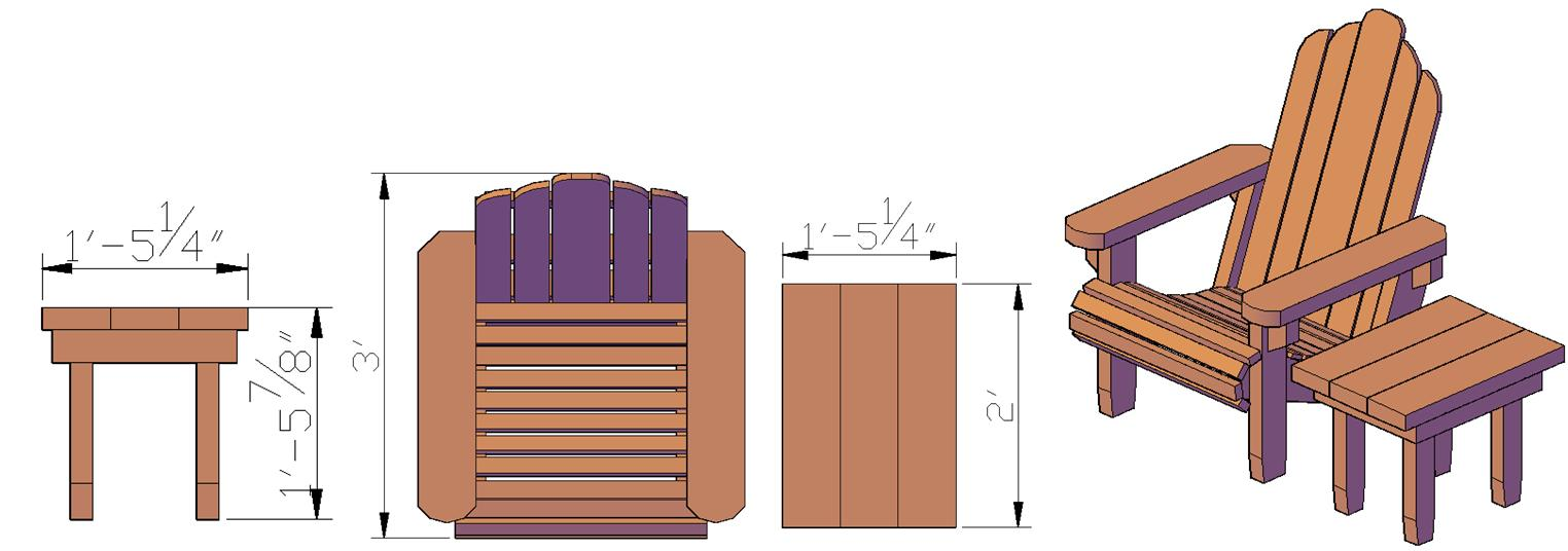 Adirondack chairs drawing - You May Be Interested In Adding A Side Table To Go With Your Adirondack Chair The Drawing Below Shows How The Adirondack Chair S Measurements Work With An