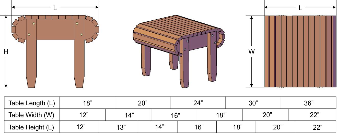 Adirondack Side Table Natural Redwood Side Tables