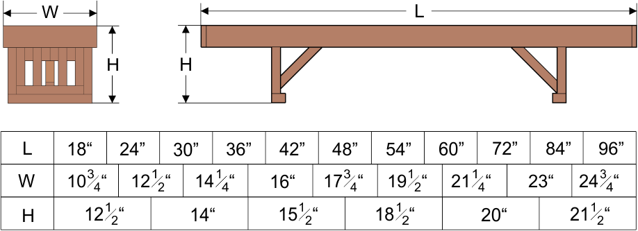 lighthouse bench dimensions and weight limitations