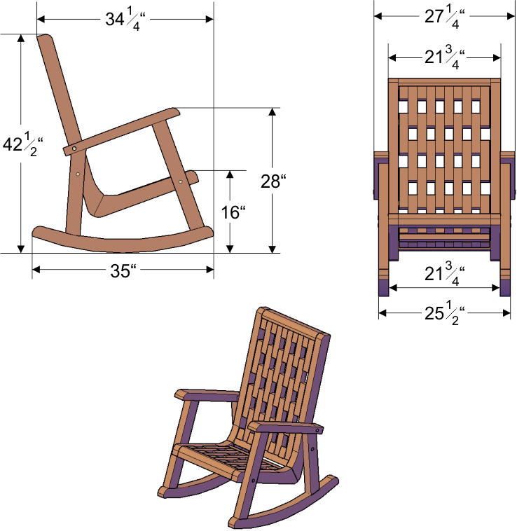 Wooden lighthouse rocking chair with comfortable deep seat for Chair design with dimensions