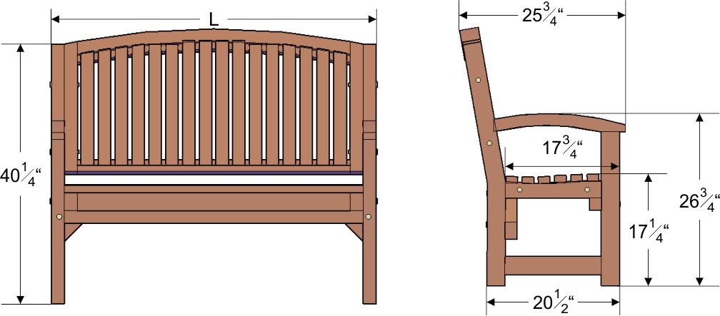 Luna wood bench forever redwood