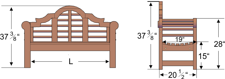 garden bench dimensions