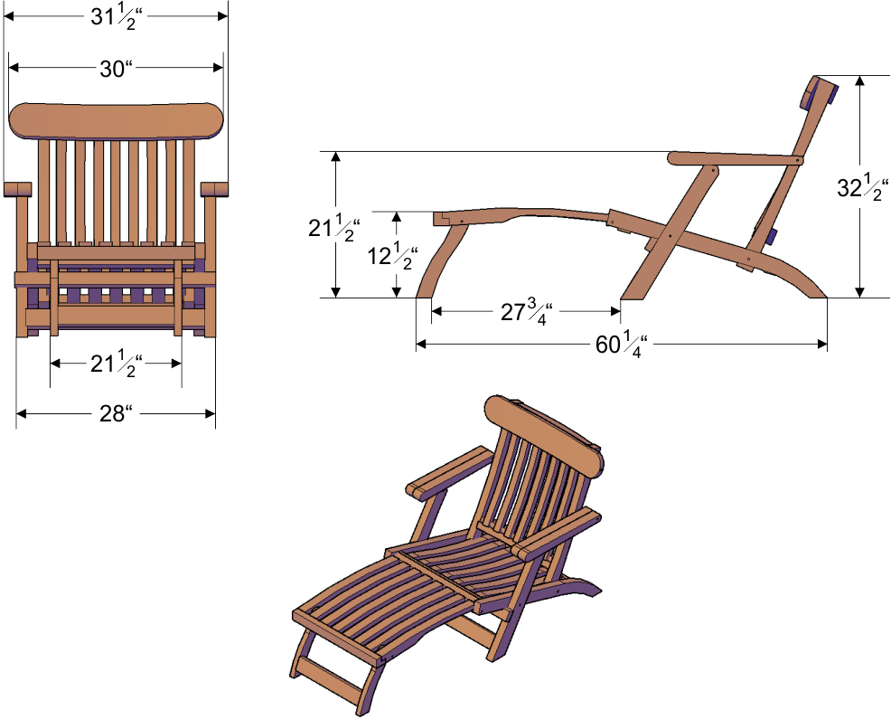Cruise ship style wood chaise lounger foldable design for Chaise dimensions