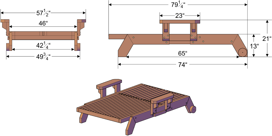 Solid wooden deck lounger outdoor wood lounger for Chaise dimensions