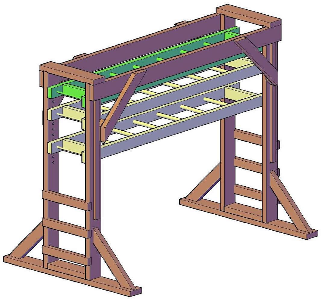 Sheldons Monkey Bar Set Forever Redwood - Build monkey bars ladder