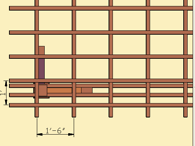 Drawing of 12 inch spacing of pergola roof slats and 18 inch spacing