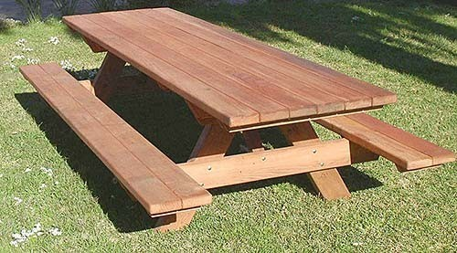 Rounded Corner Options Kidu0027s Picnic Tables 8 Foot Rectangular Picnic Table  With Attached Benches   Mature Redwood