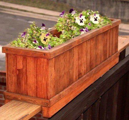 All weather redwood flower planter box for windows balconies or decks ebay - Flower boxes for railings ...