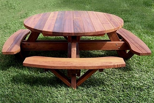 Round Wooden Picnic Table With Attached Benches - Small round picnic table